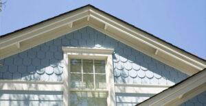 Blue fiber cement siding on a home's exterior